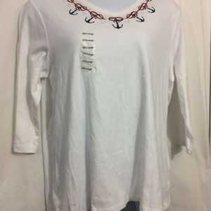 NEW Women Plus Sz 3X White Red Boat Anchors Top